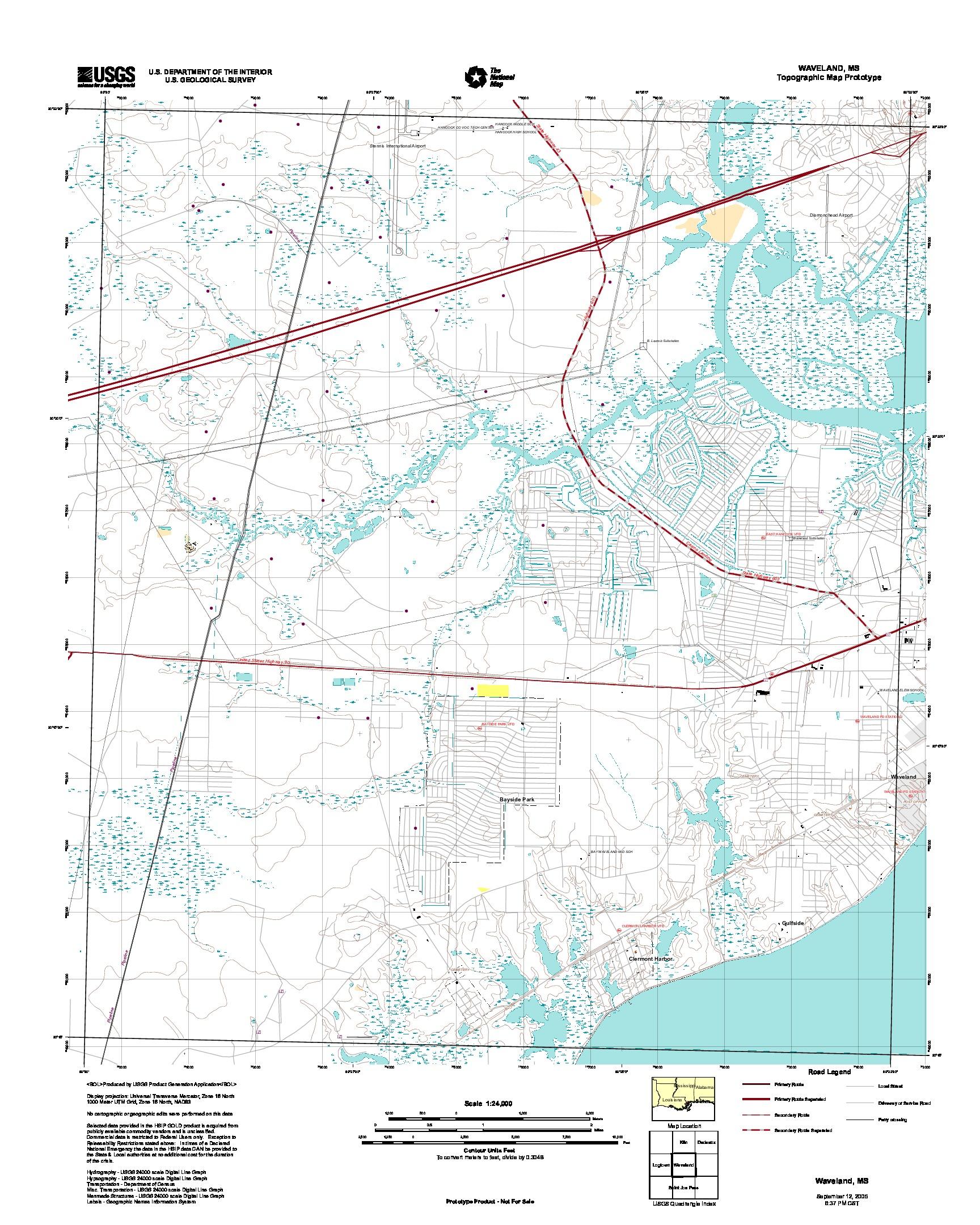 Prototipo de Mapa Topográfico de Wavely, Misisipi, Estados Unidos, Septiembre 12, 2005