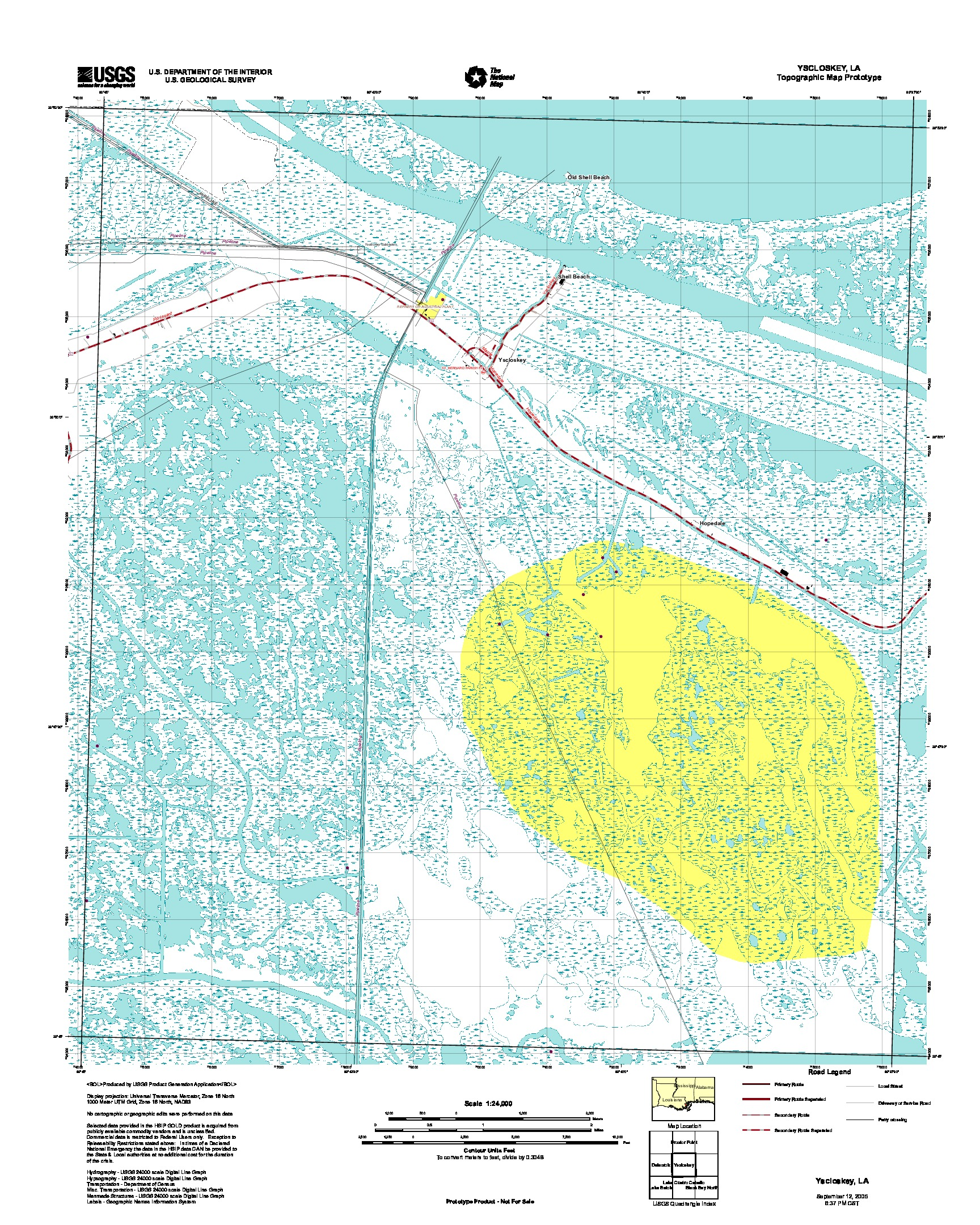 Yscloskey, Topographic Map Prototype, Louisiana, United States, September 12, 2005