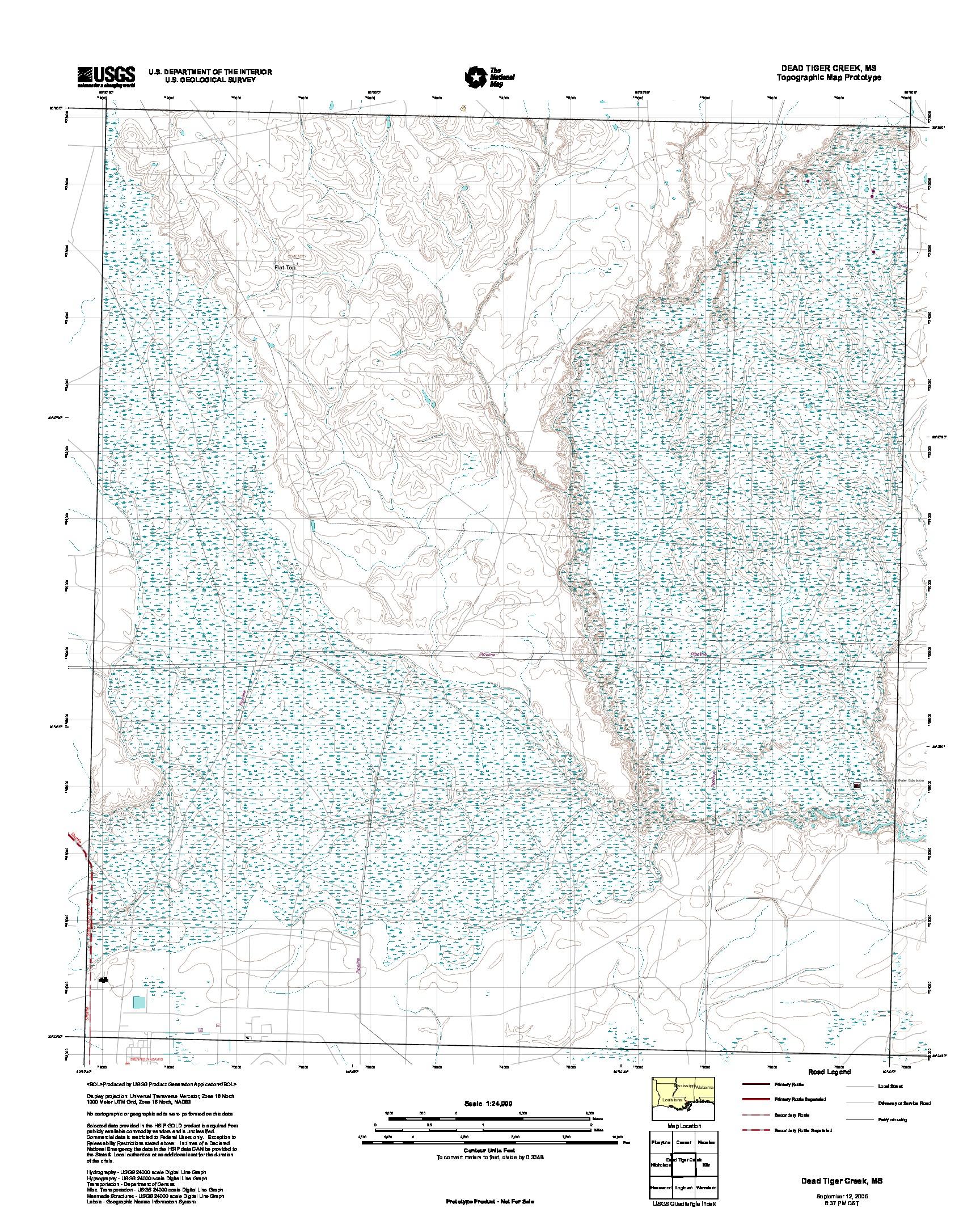 Prototipo de Mapa Topográfico dead Tiger Creek, Misisipi, Estados Unidos, Septiembre 12, 2005