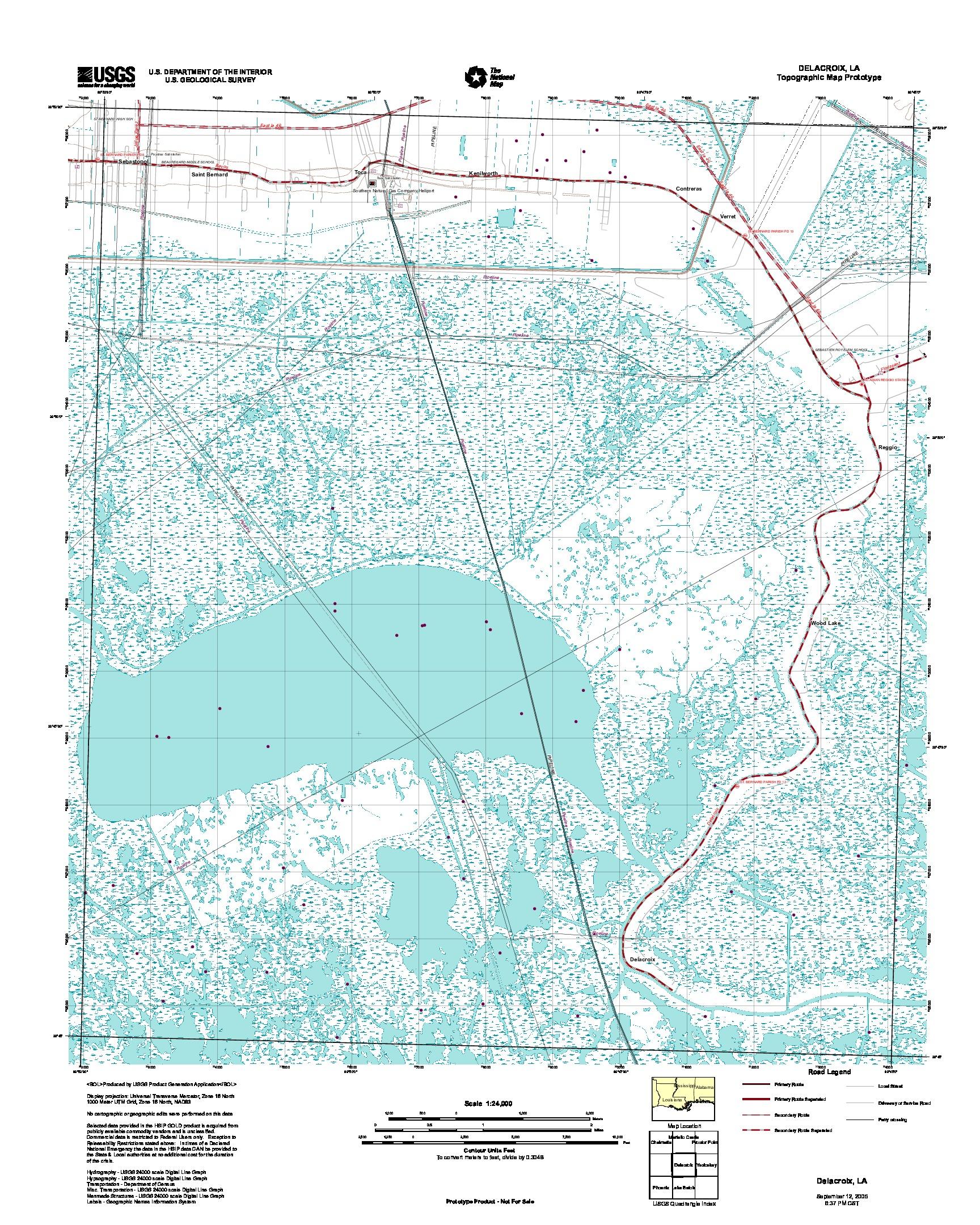 Prototipo de Mapa Topográfico delacroix, Luisiana, Estados Unidos, Septiembre 12, 2005