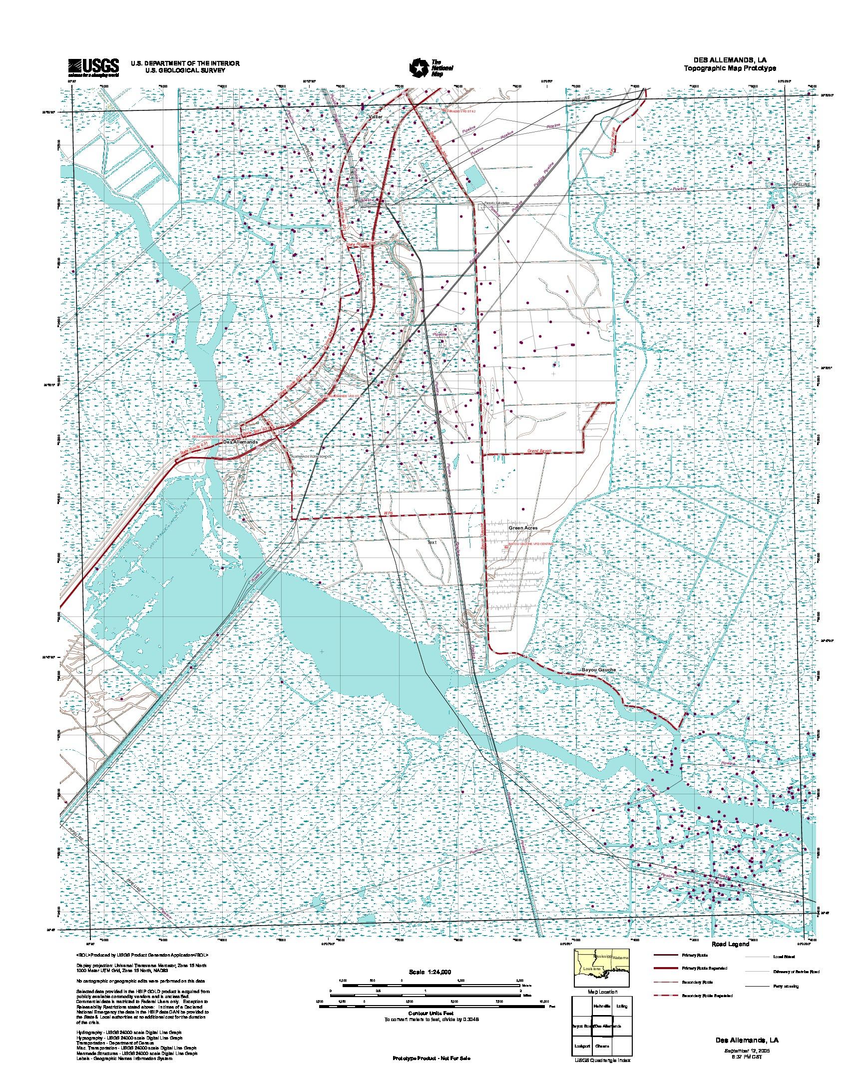 Prototipo de Mapa Topográfico des Allemands, Luisiana, Estados Unidos, Septiembre 12, 2005