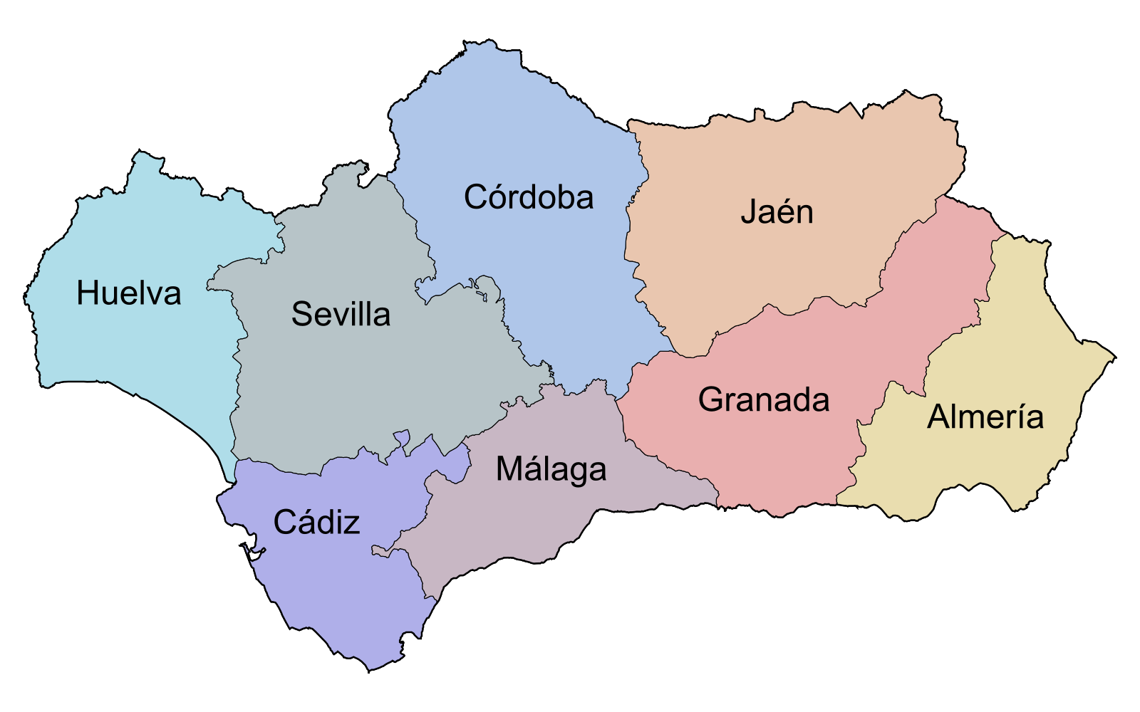 Provinces of Andalusia 2007