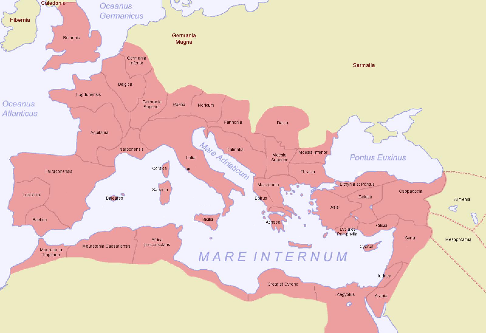 Provincias del Imperio Romano en 116