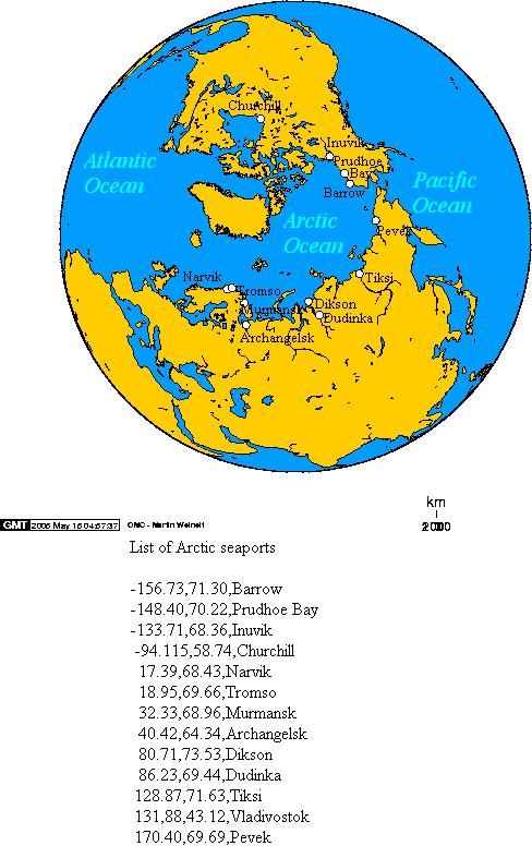 Puertos marítimos del Océano Ártico 2005