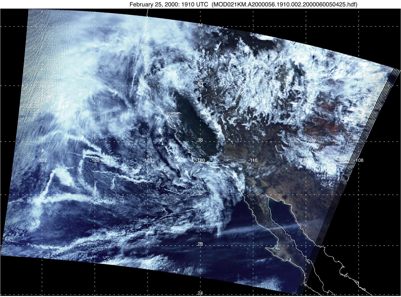 Ship Tracks off California from MODIS