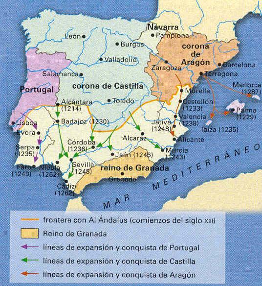 Reconquista o Conquista cristiana a comienzos del siglo XIII