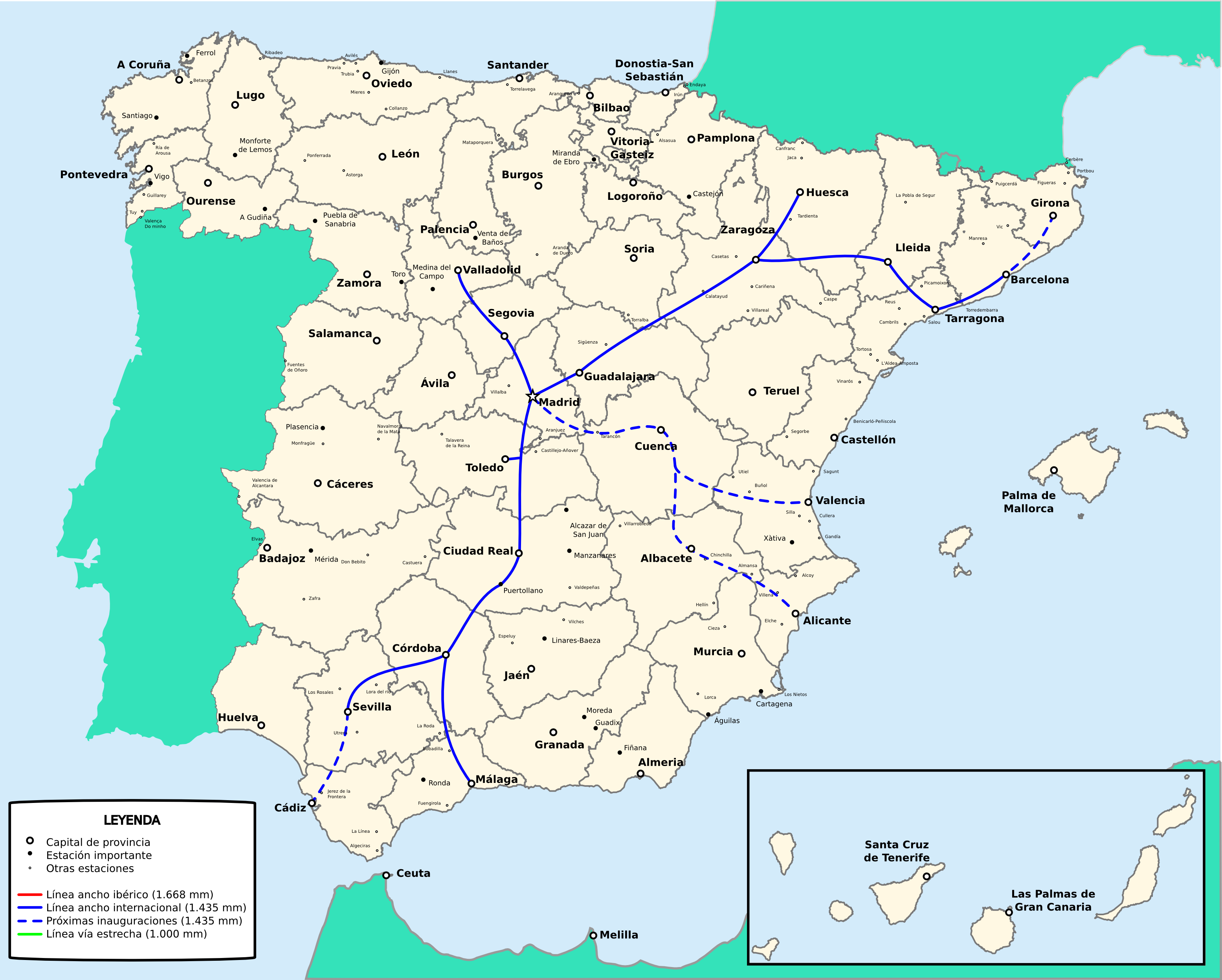 Spain railway network with european rail gauge 2009