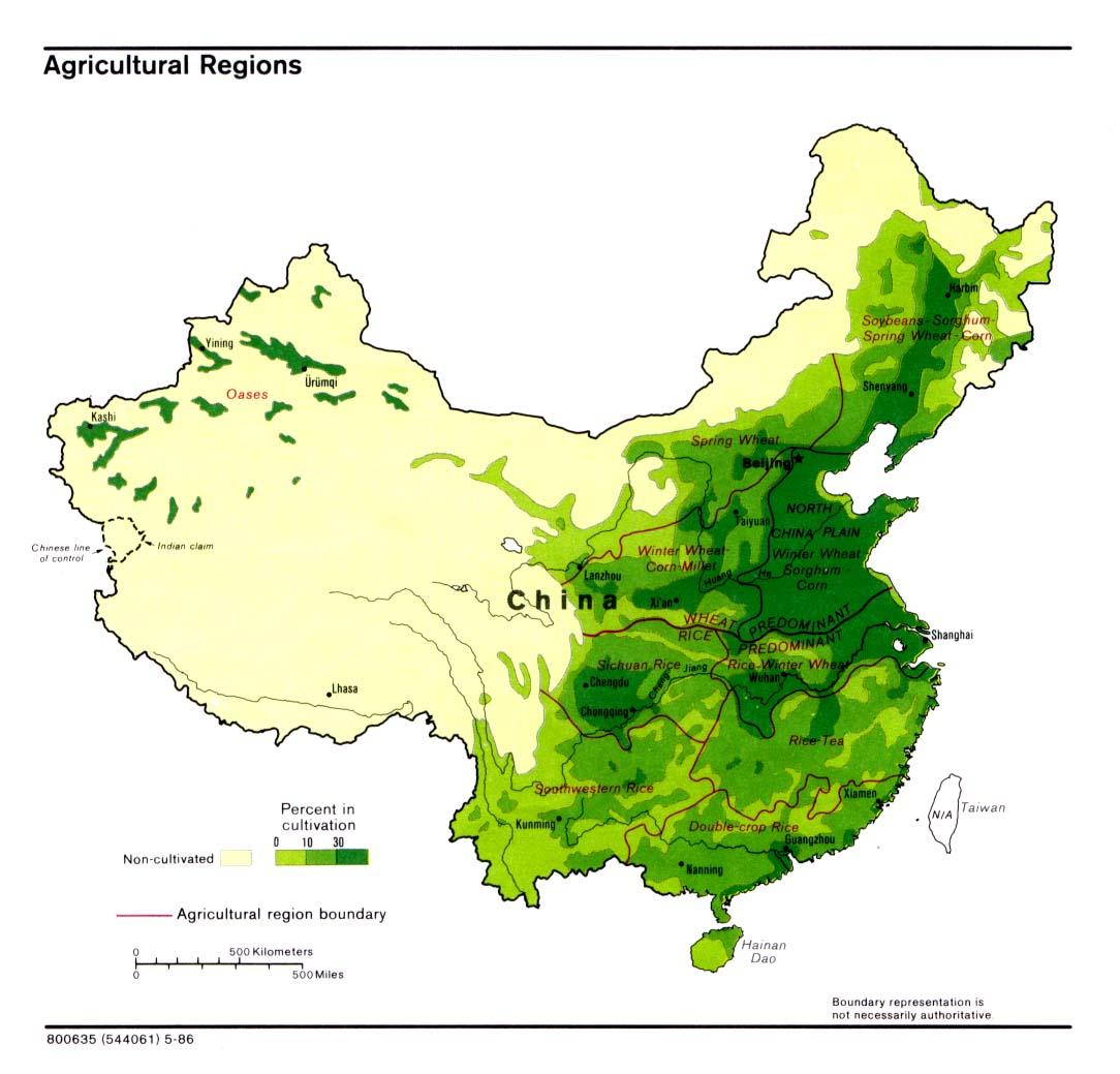 Mapa de Regiones Agrícolas de China 1986