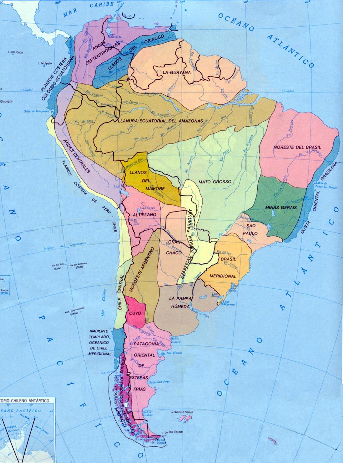 Mapa de Regiones naturales de Am�rica del Sur