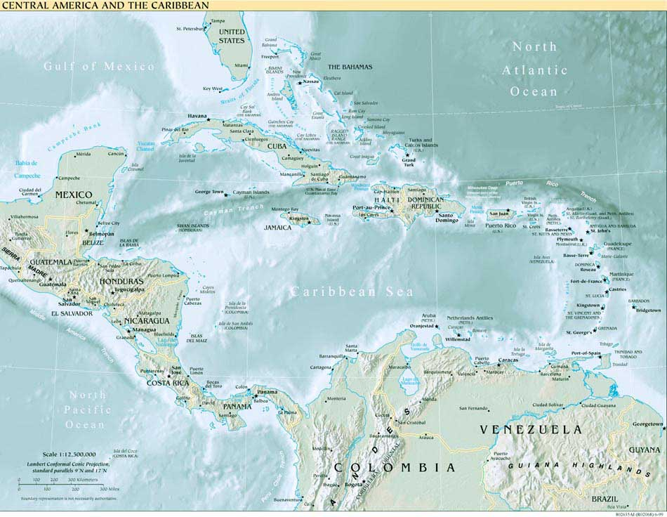 Topography of Central America and the Caribbean 1999