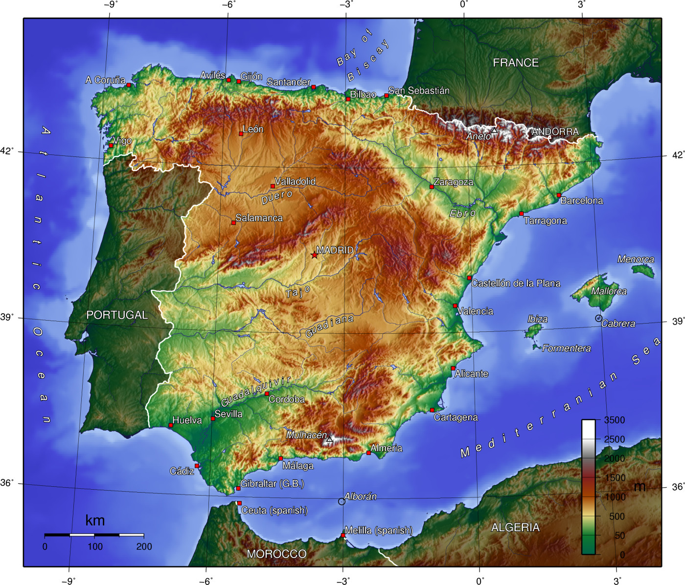 Spain topography 2005