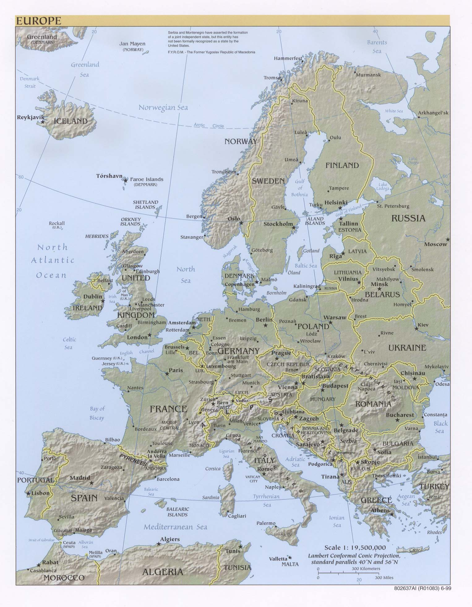 Europe topography 1999