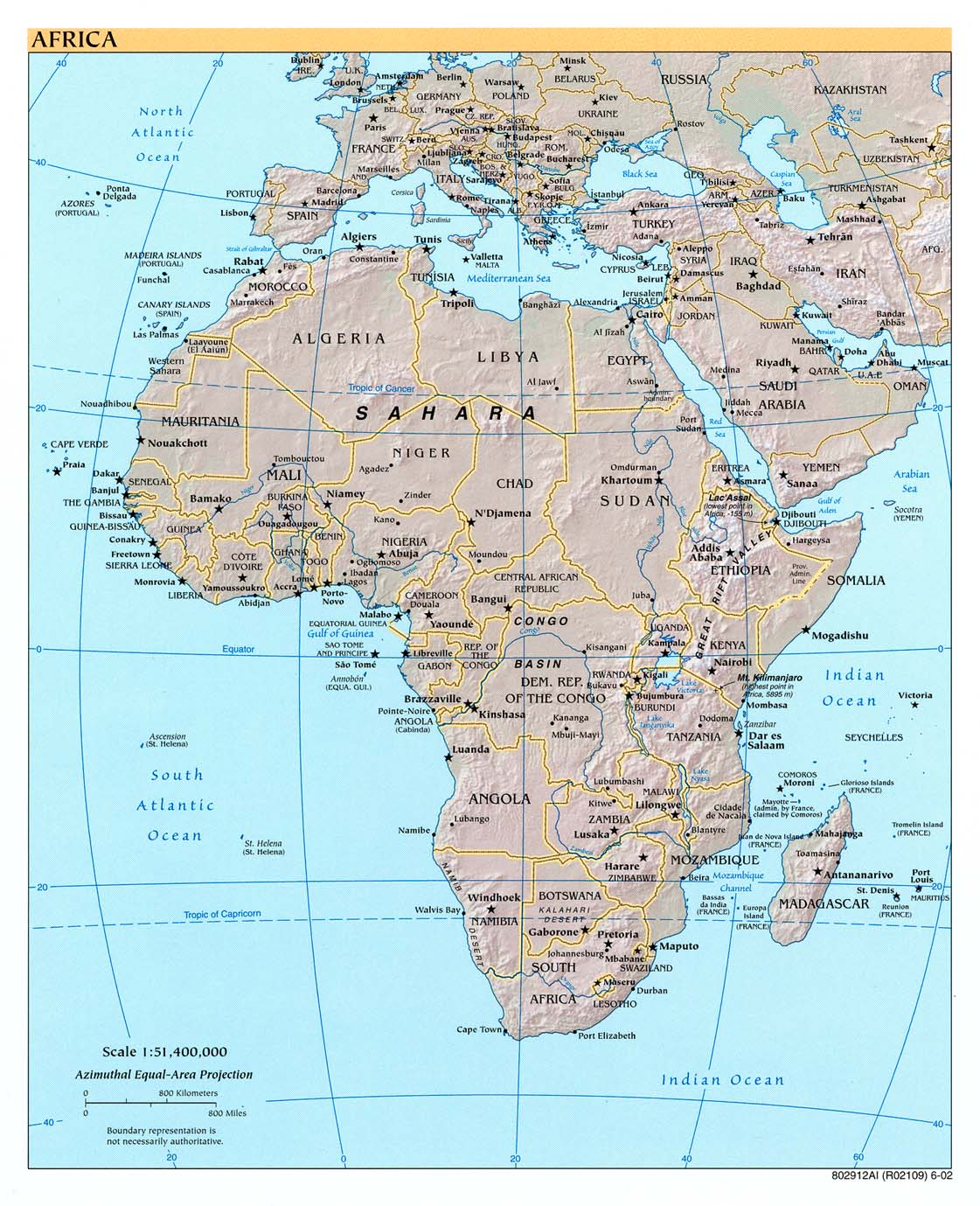 Africa physical map 2002