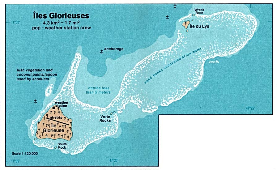 Glorioso Islands (Iles Glorieuses) Shaded Relief Map, France