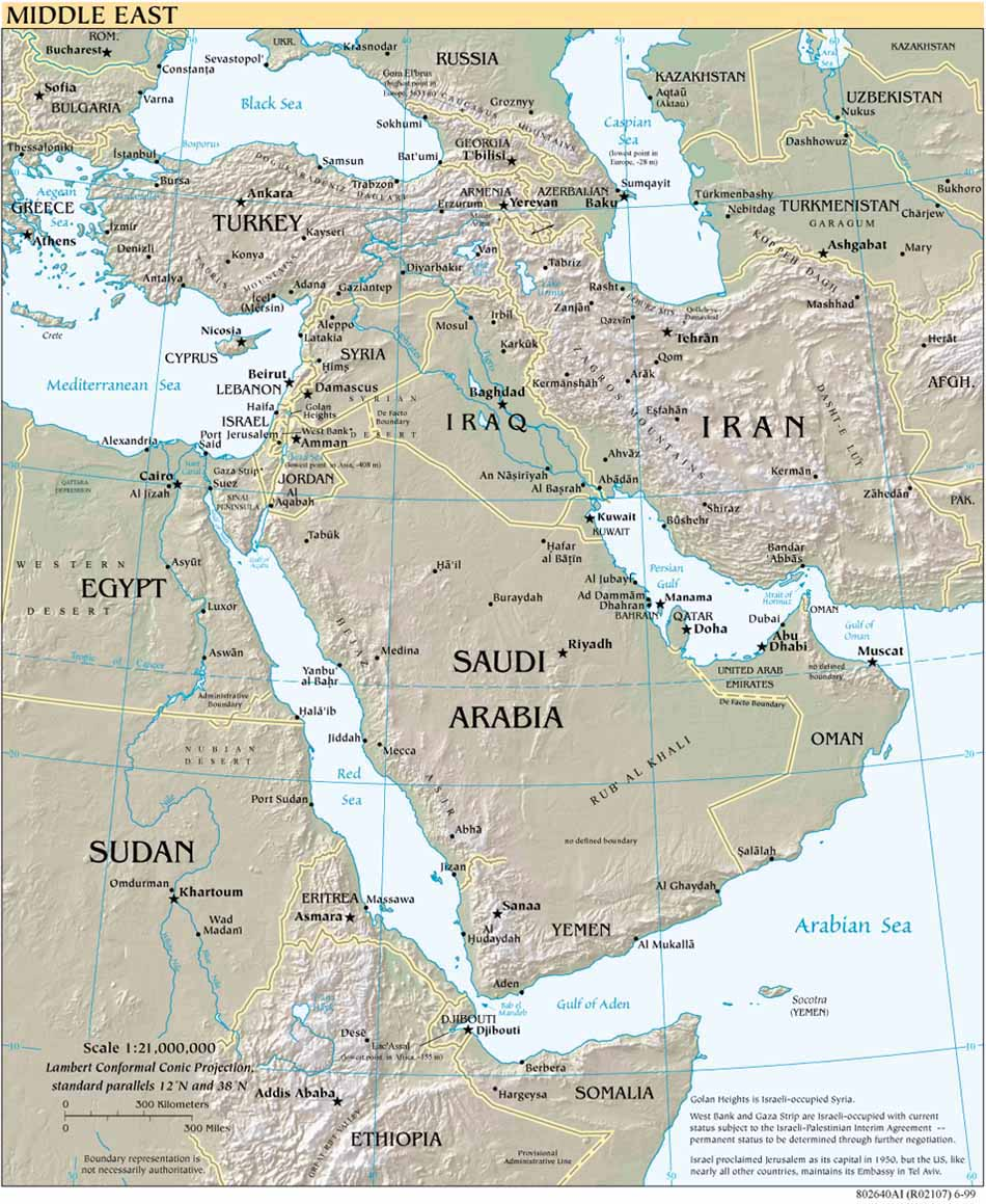 Middle East topography 1999