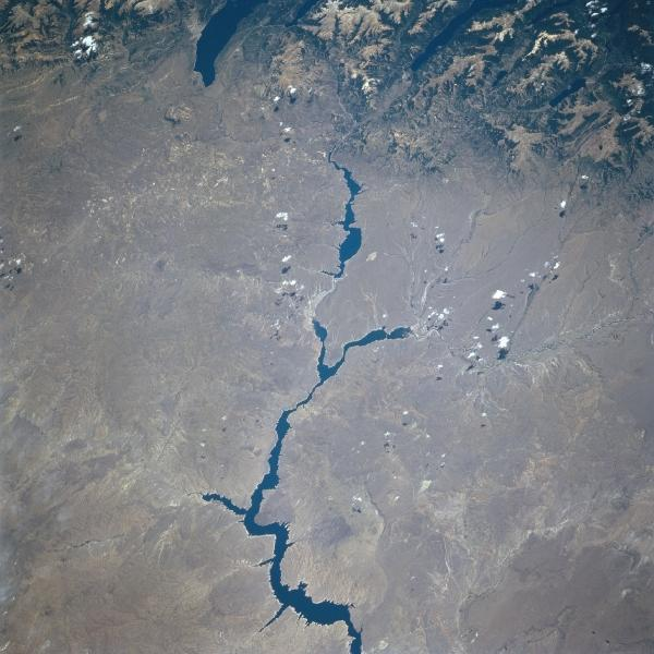 Satellite Image, Photo of Rio Limay, Argentina