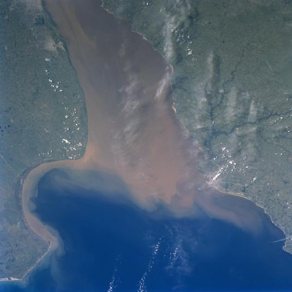 Satellite Image, Photo of Rio de la Plata, Uruguay