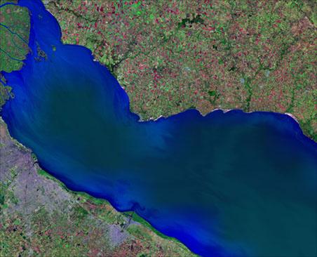 Satellite Image, Photo of Río de la Plata, Buenos Aires City, Argentina