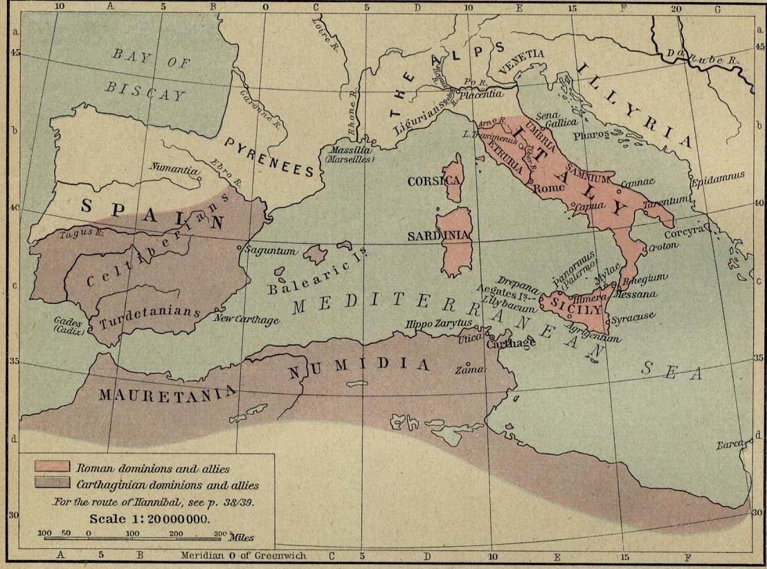 Roma y Cartago antes de la Segunda Guerra Púnica, 218 aC