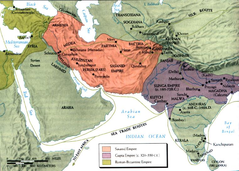 The Persian Sassanid Empire trade routes