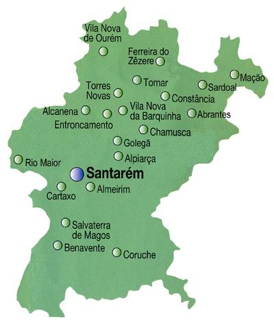 Santarém District Map, Portugal