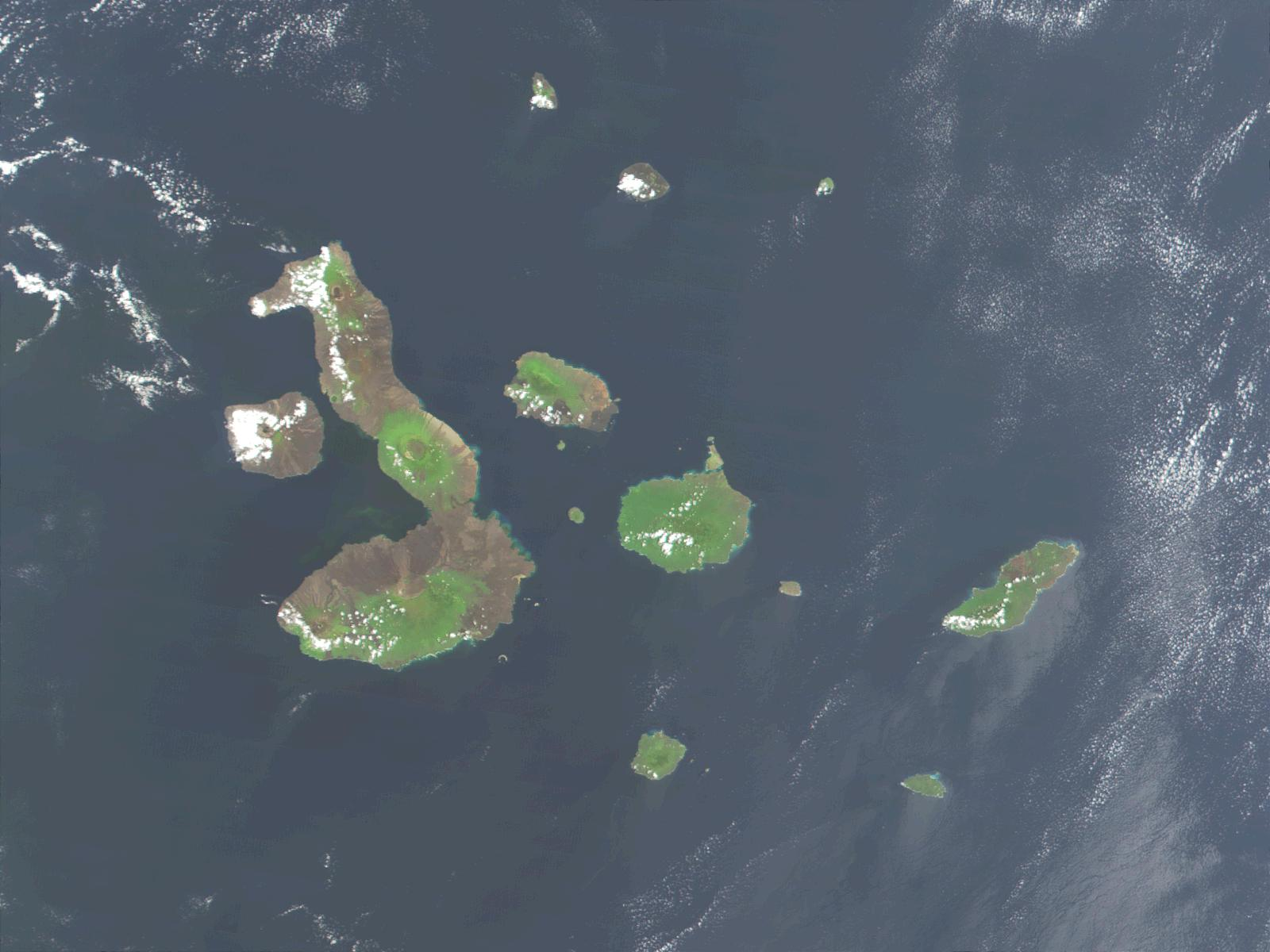 Satellite Image, Photo of Galapagos Islands, Ecuador