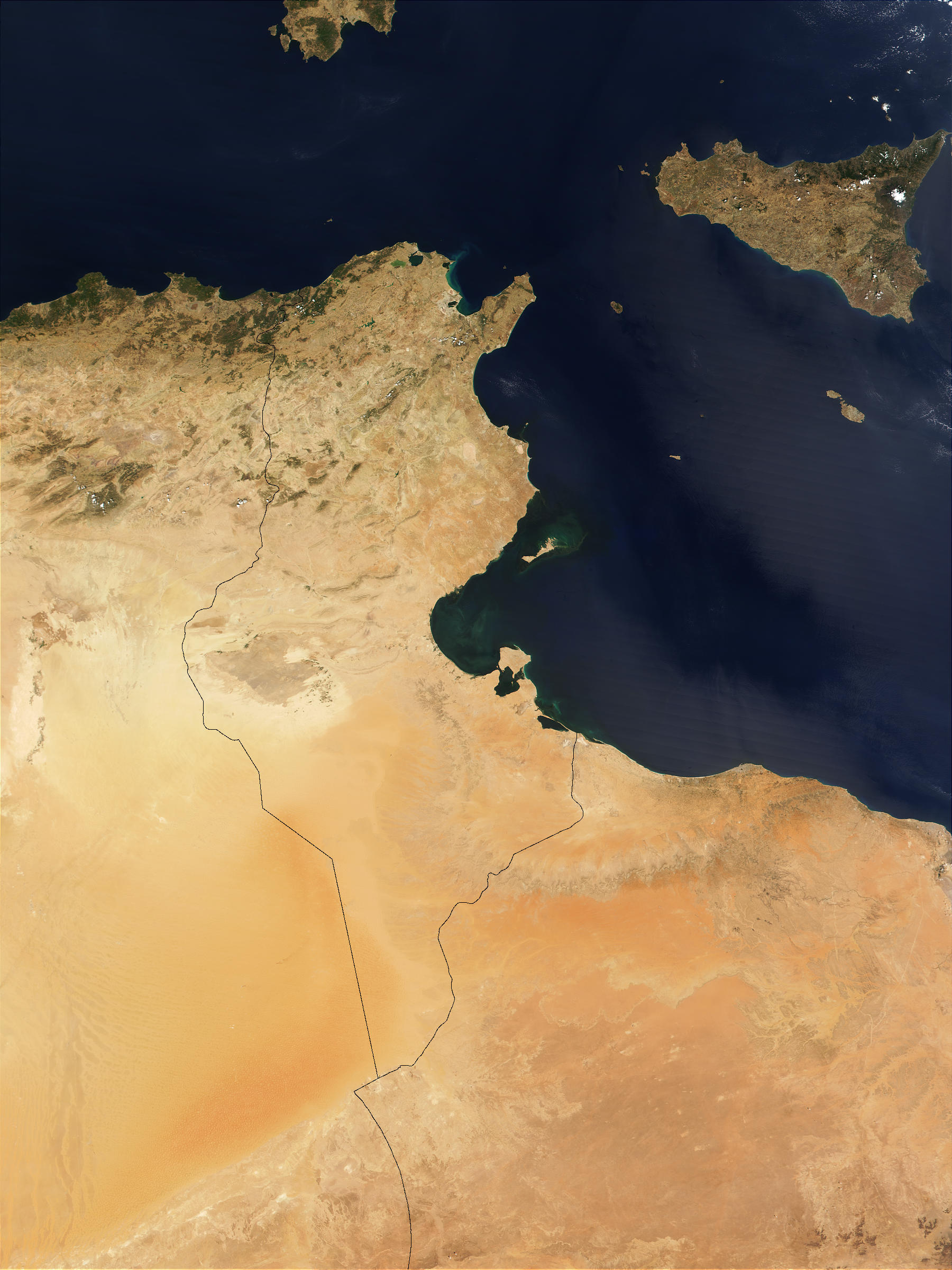 Satellite Image, Photo of Tunisia