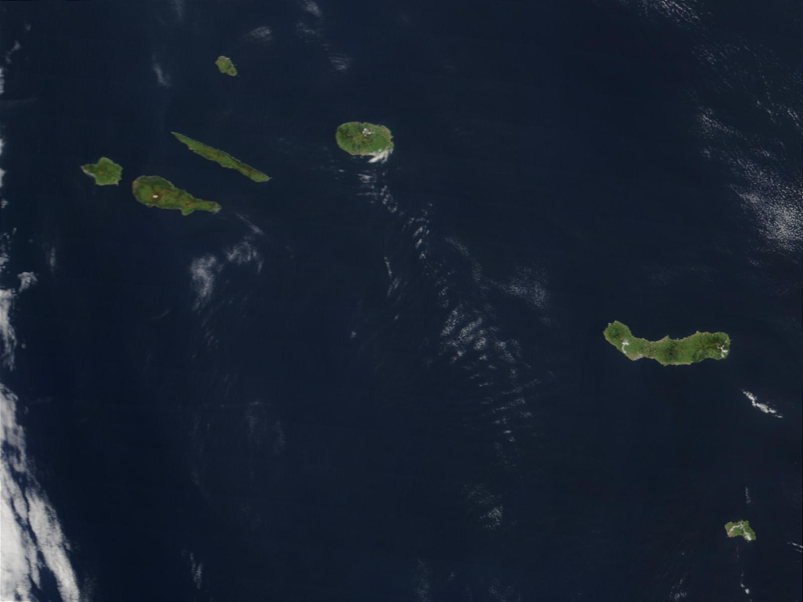 Satellite Image, Photo of the Azores Islands, Portugal