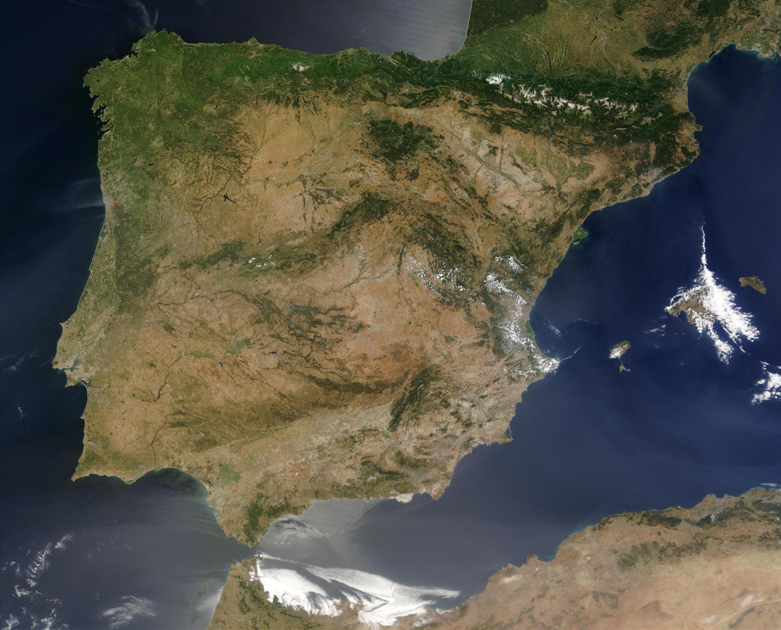 Satellite Image, Photo of the Iberian Peninsula