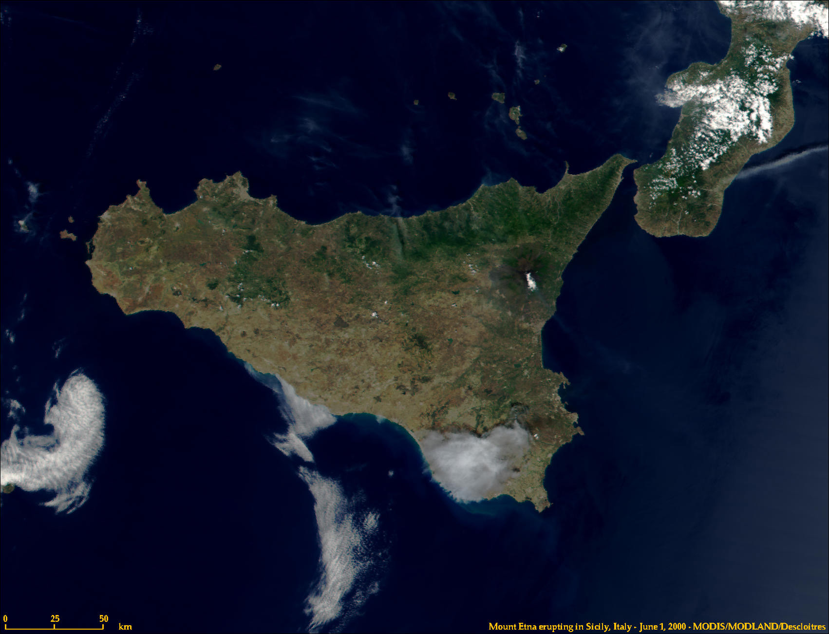 Sicily, Italy from MODIS