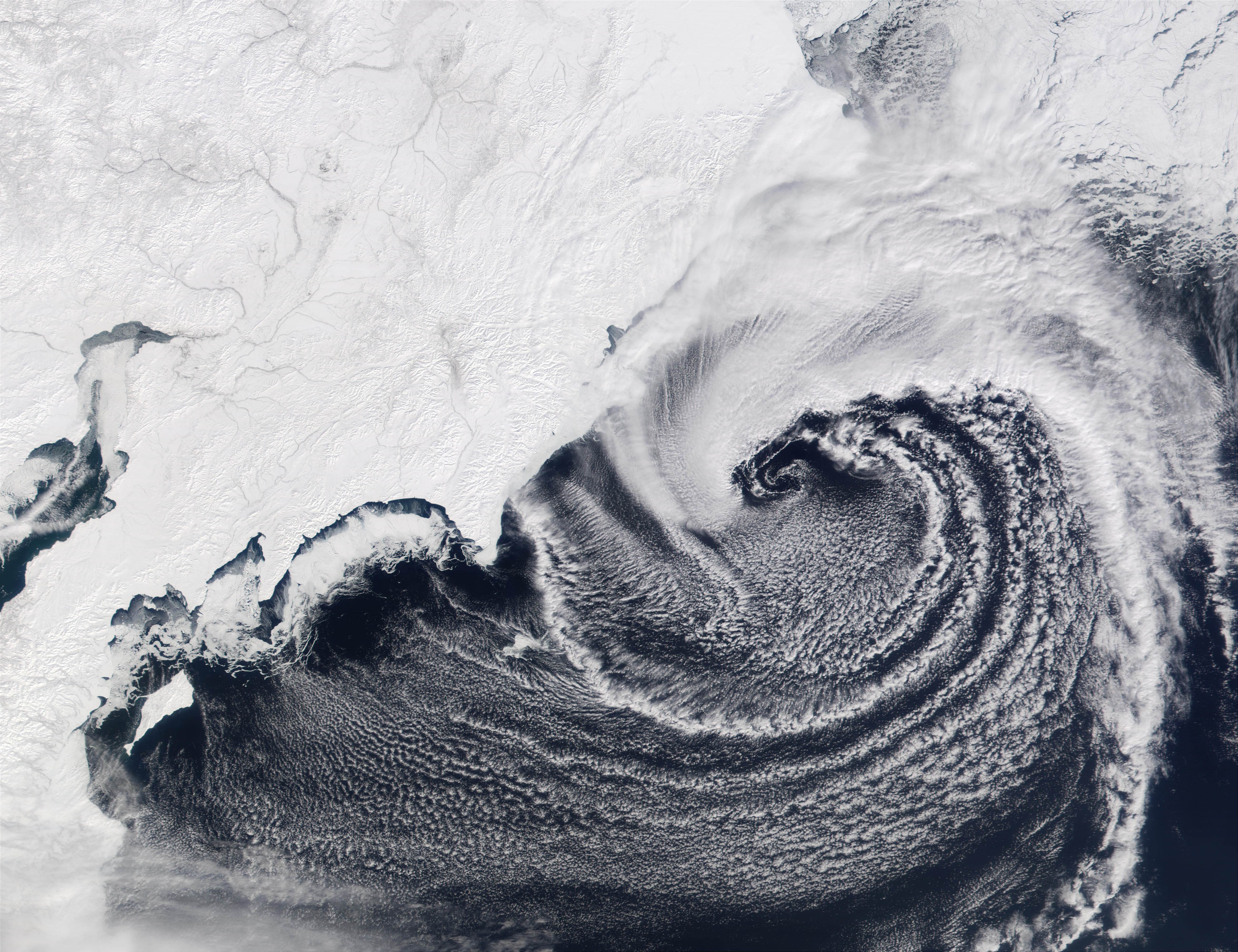 Low pressure system over the Bering Sea