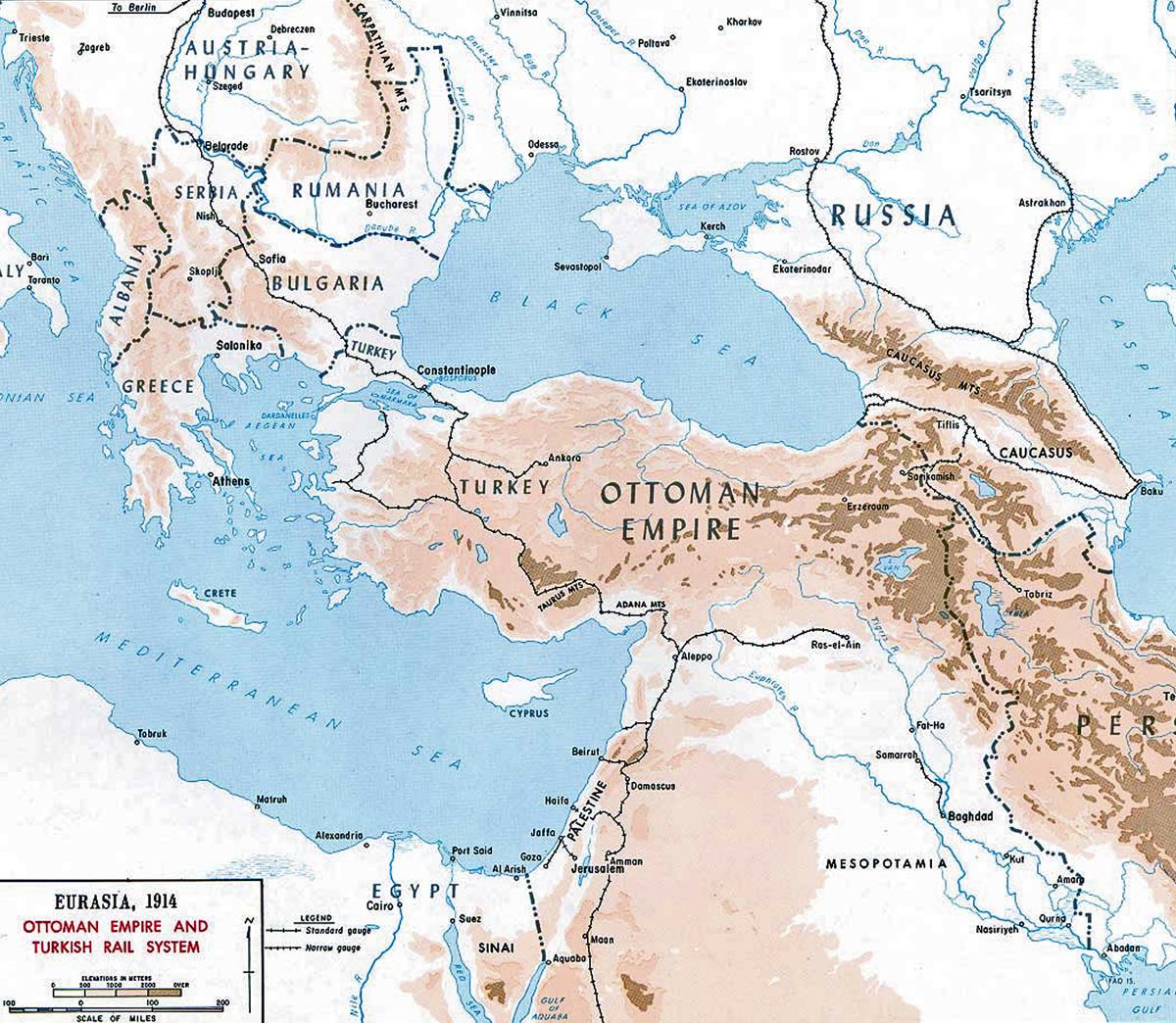 Sistema ferroviario del Imperio Otomano 1914