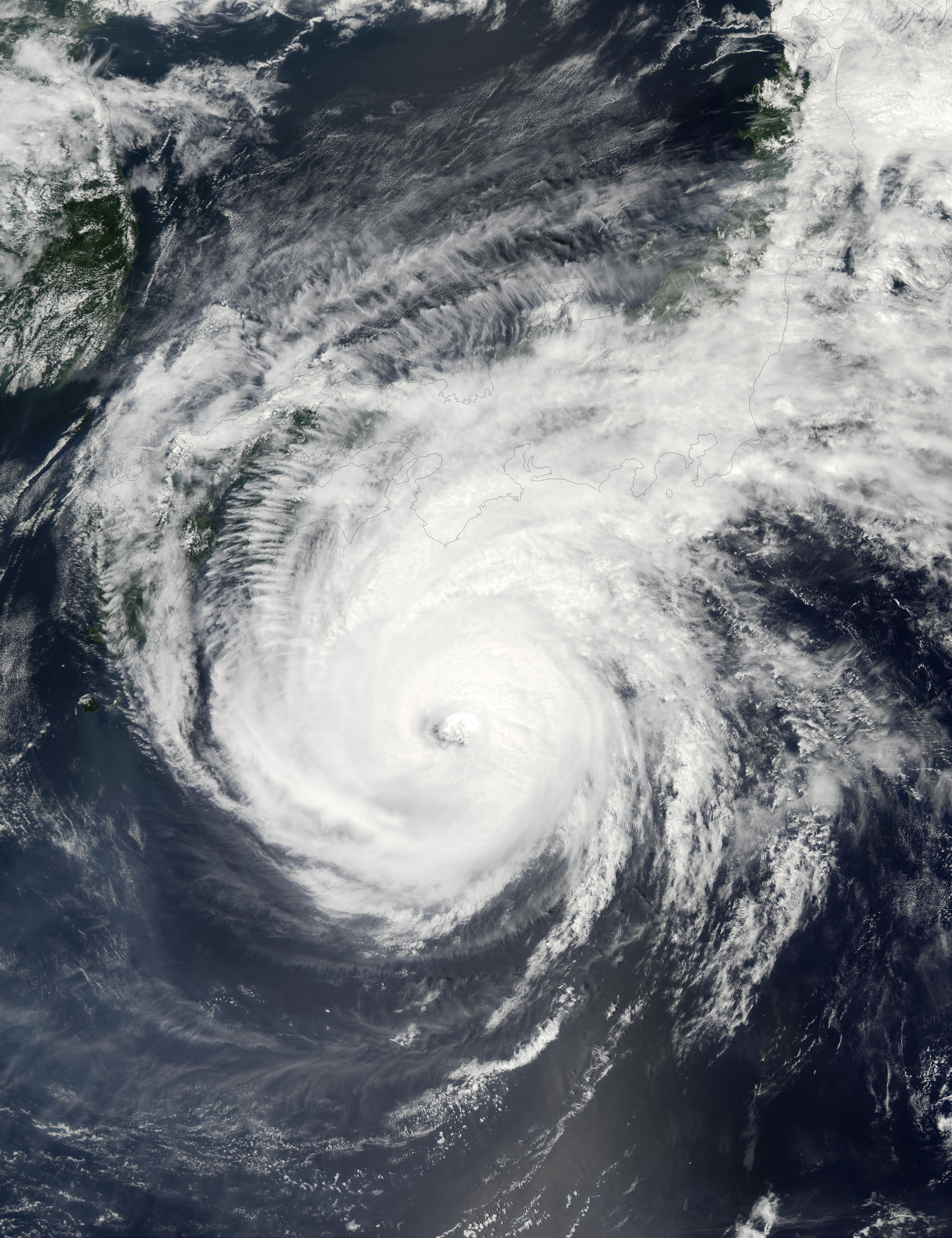 Super Typhoon Phanfone (19W) south of Japan