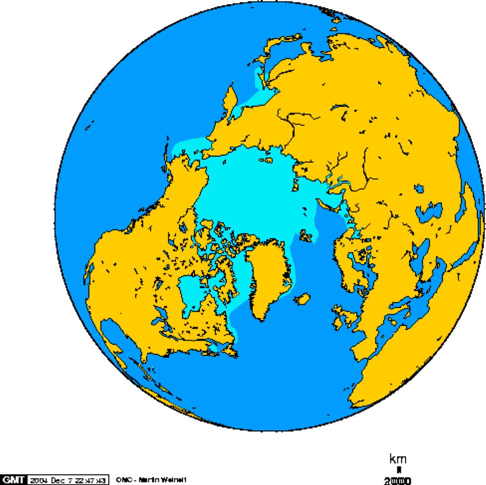 Superficie de hielo en el Ártico en Febrero 1978-2002