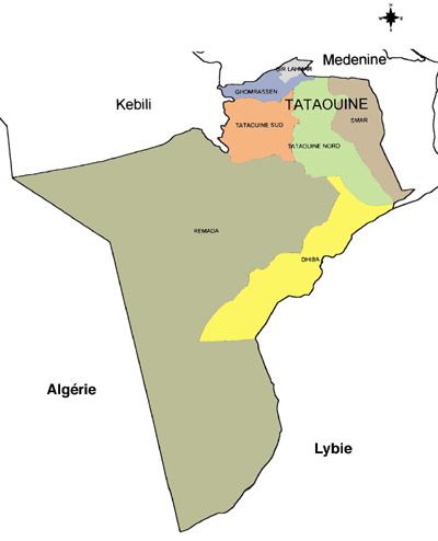Tataouine Governorate Map, Tunisia