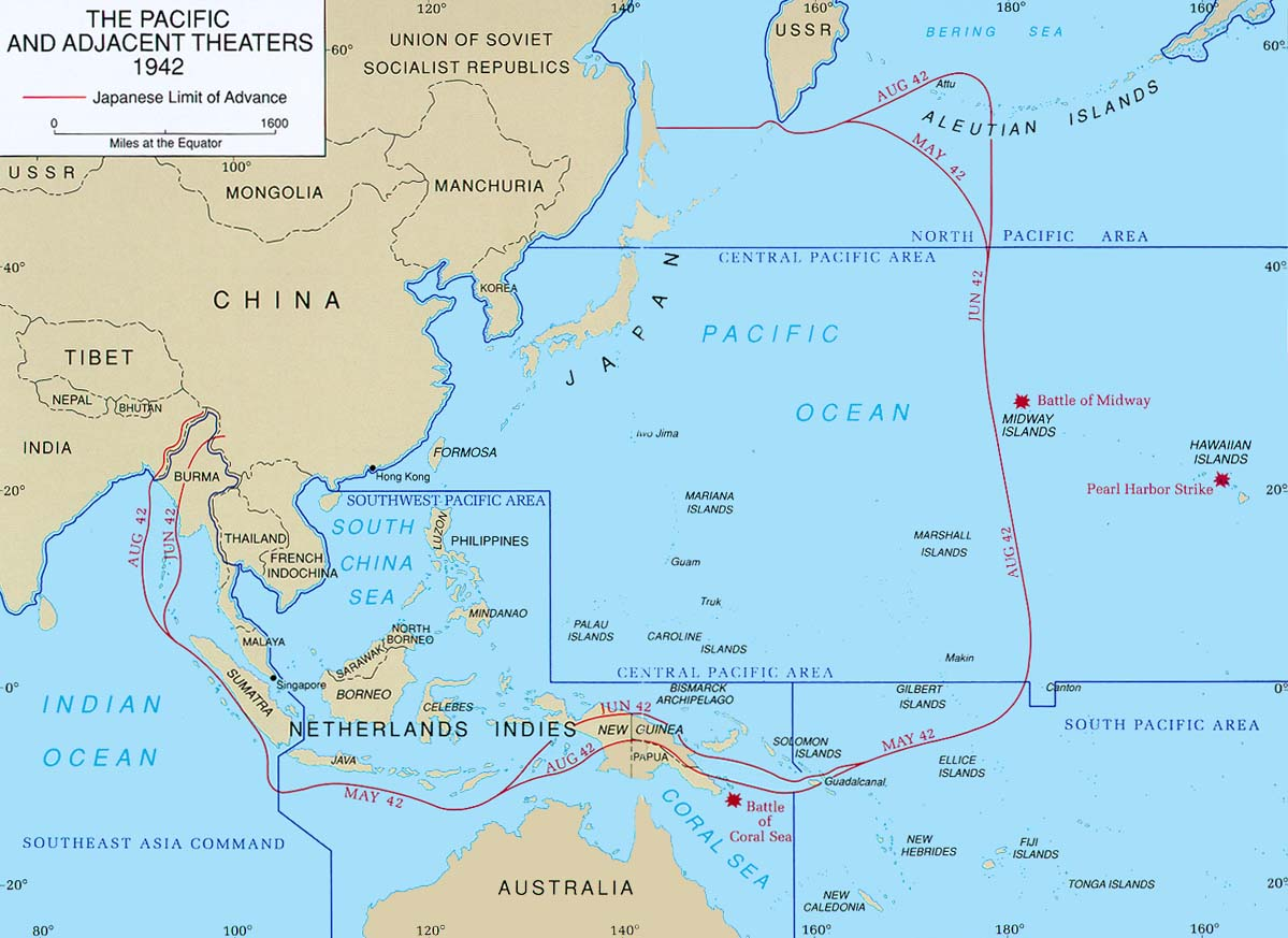 The Pacific Theater in August, 1942
