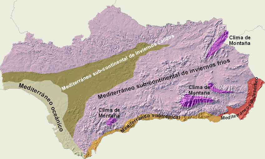 Andalusian climate types 2008