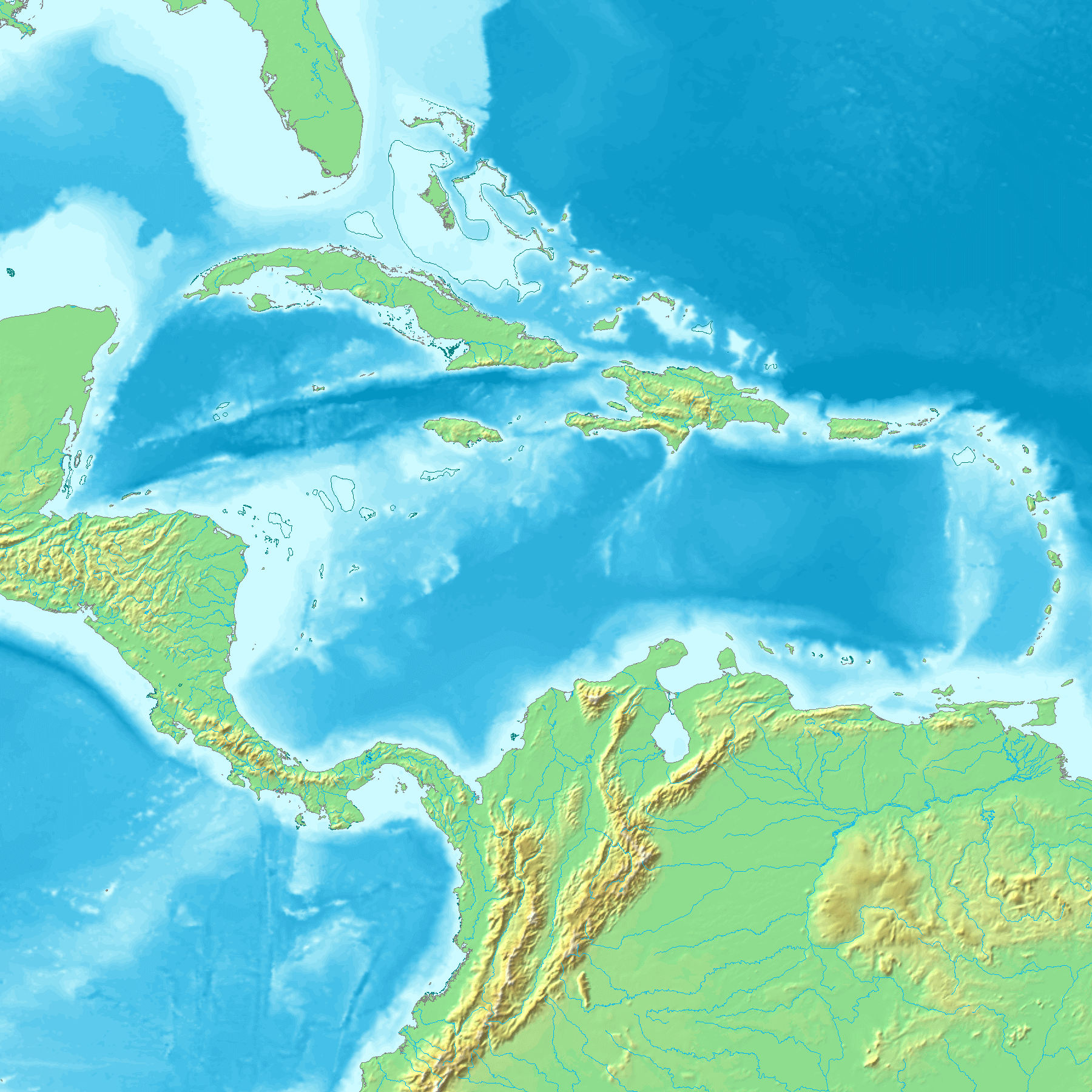 Topography and hydrography of the Caribbean 2005