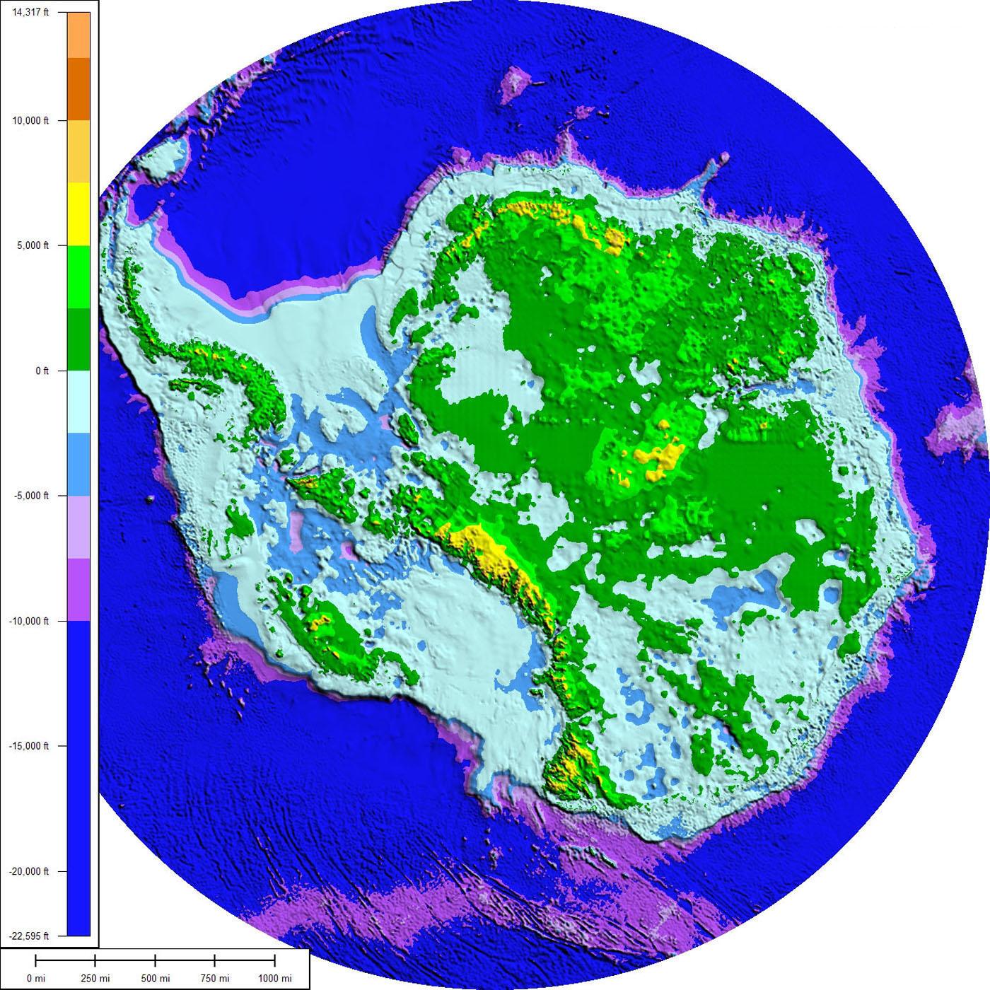 Topografía y batimetría de la Antártida 2008