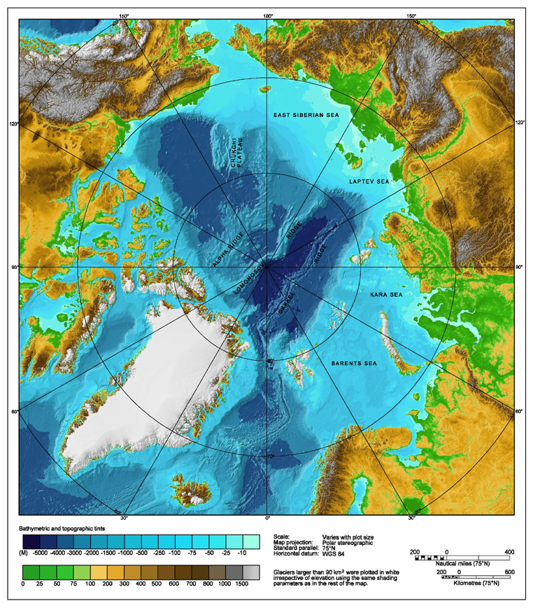 Arctic topography and bathymetry