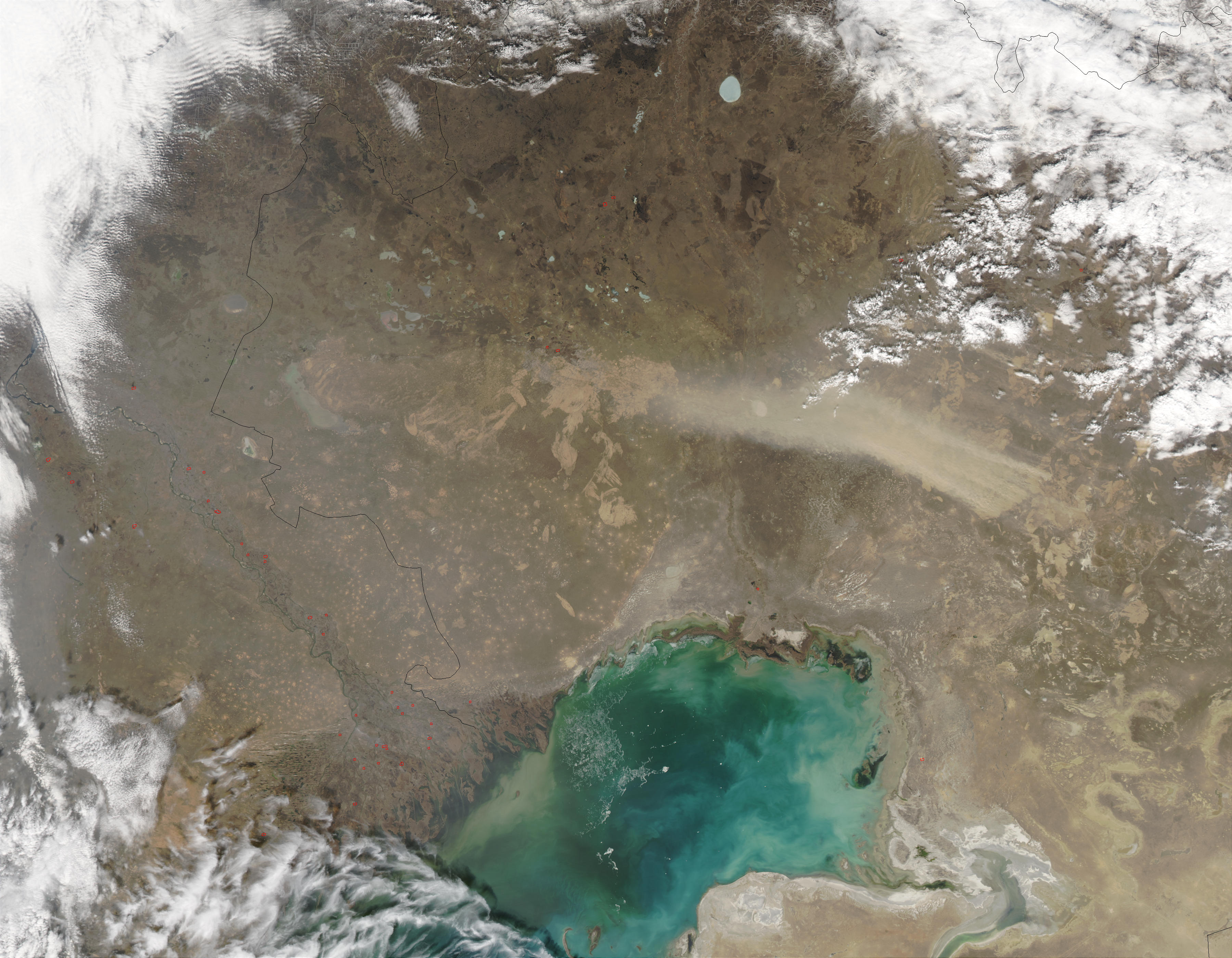 Dust storm in Kazakhstan