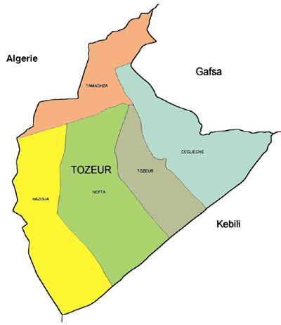 Tozeur Governorate Map, Tunisia