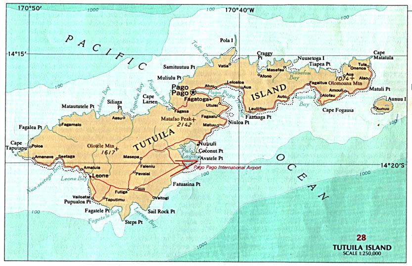 Tutuila Isla Mapa, Samoa Americana