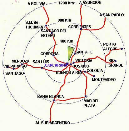 Geographic Location Map Carcarañá City, Santa Fe Prov., Argentina