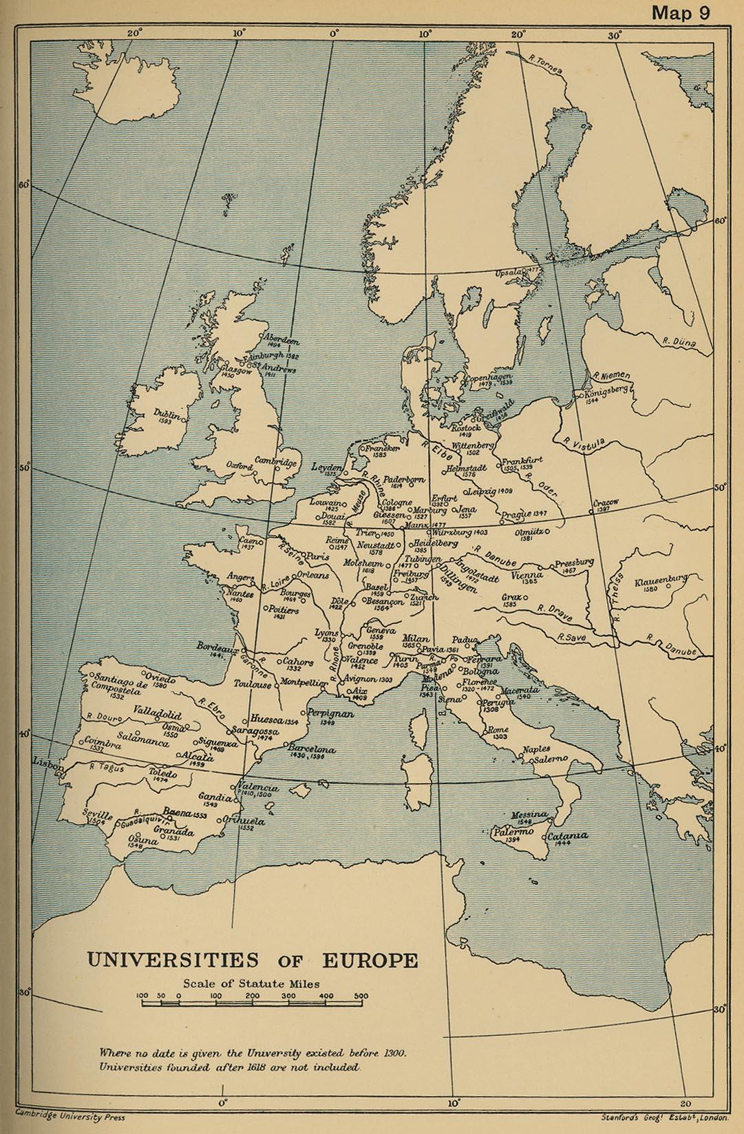 Universities in Europe until 1618