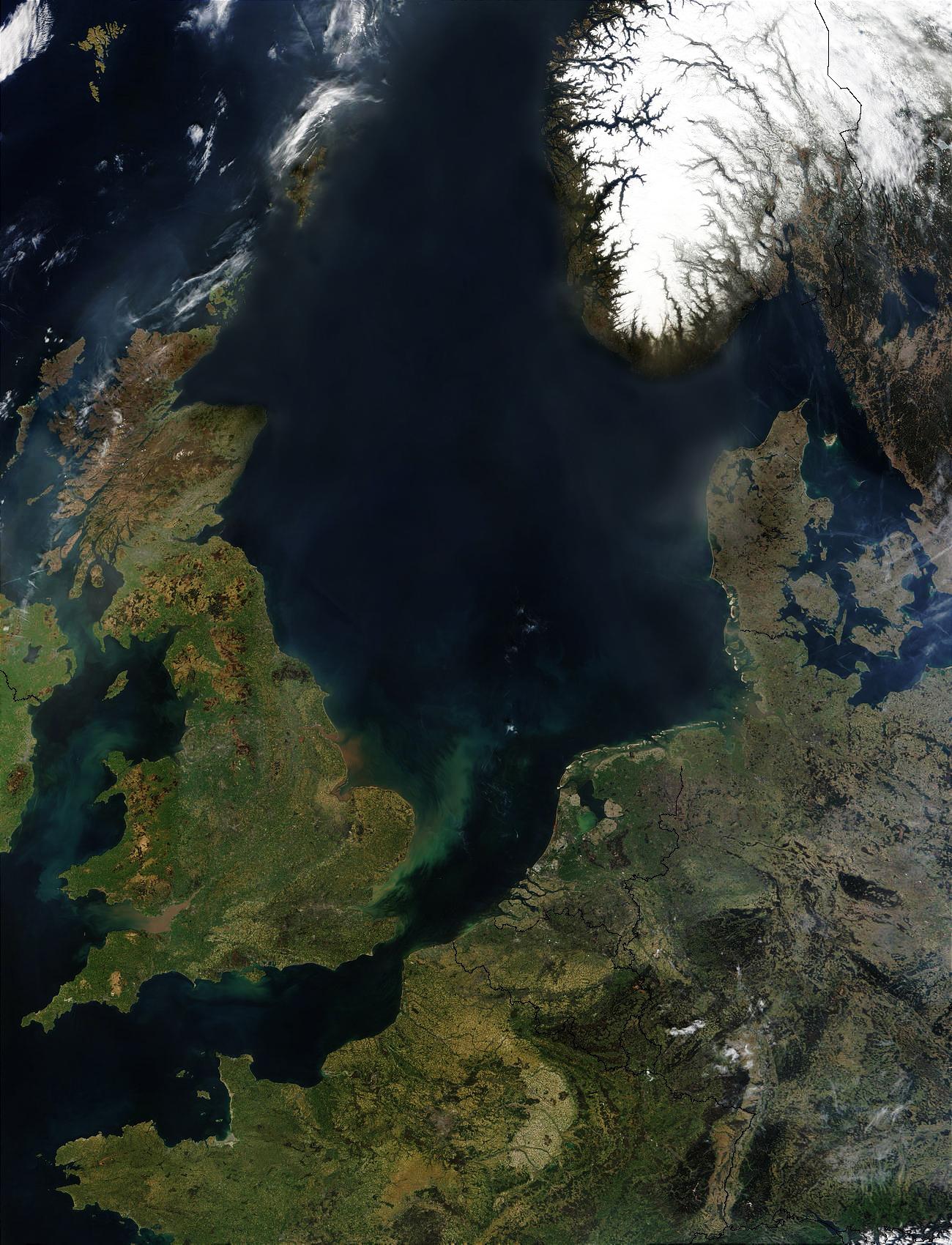 Vista Satelital del Mar del Norte