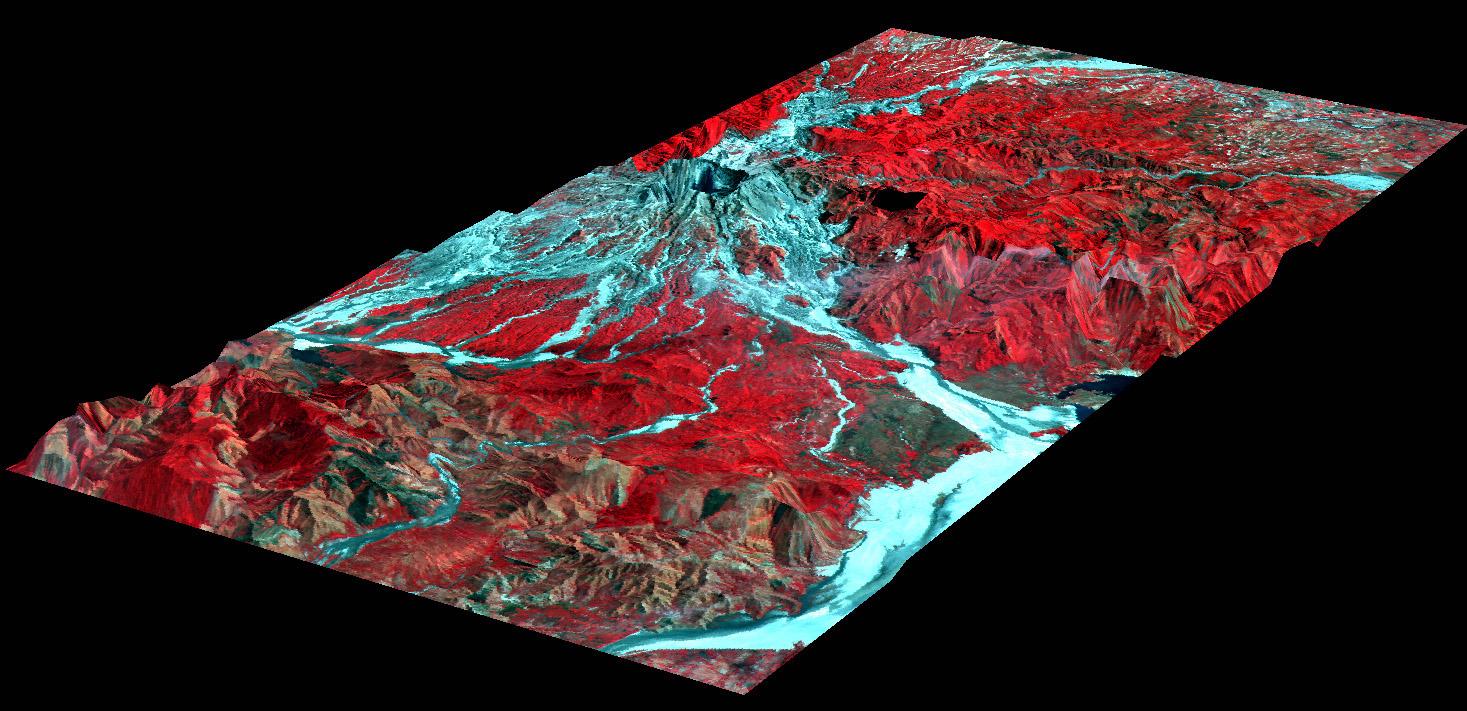 Vista con perspectiva tridimensional del Monte Pinatubo, Filipinas