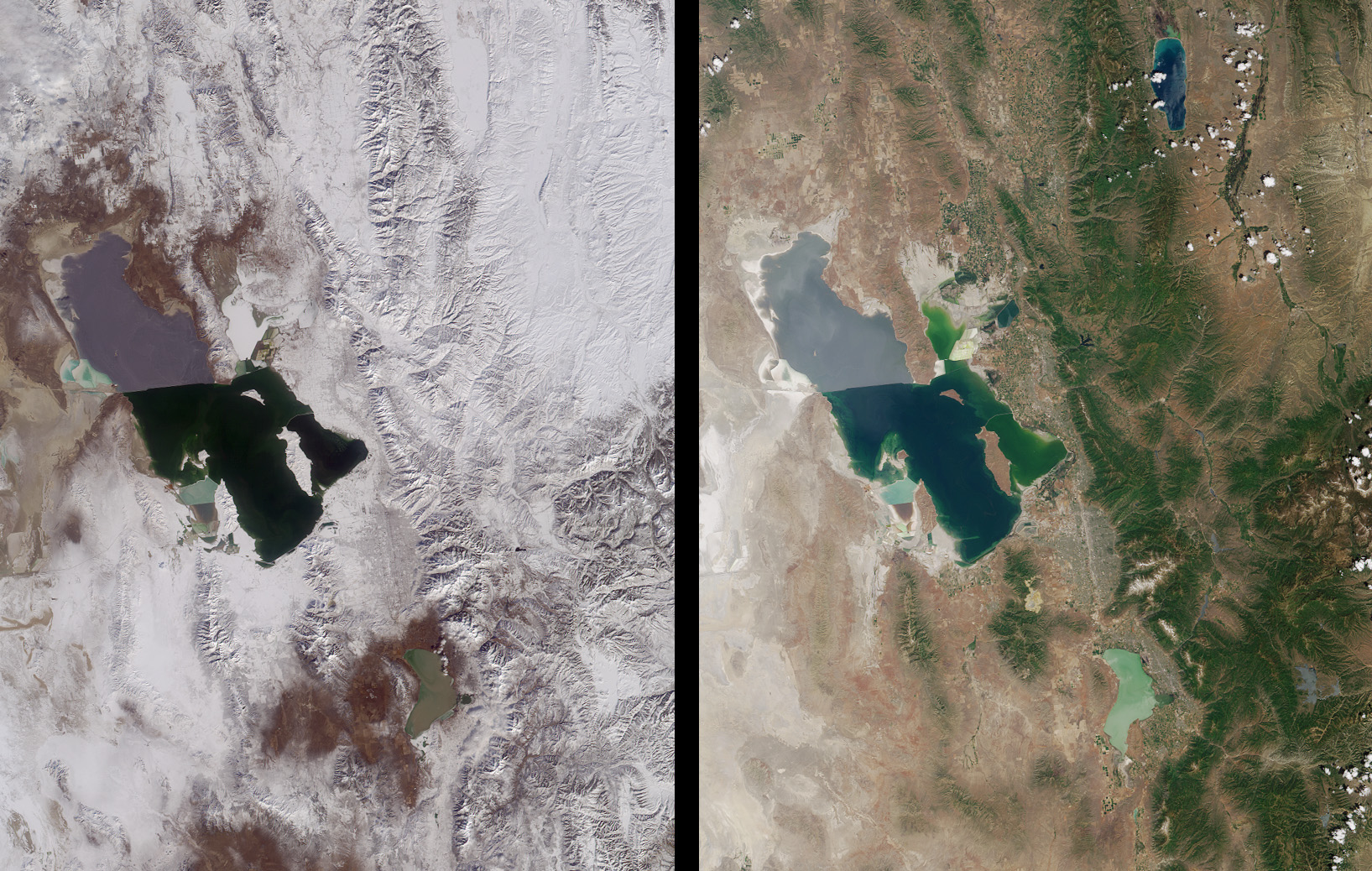 Vistas de Invierno y verano de la región de la Ciudad del Lago Salado