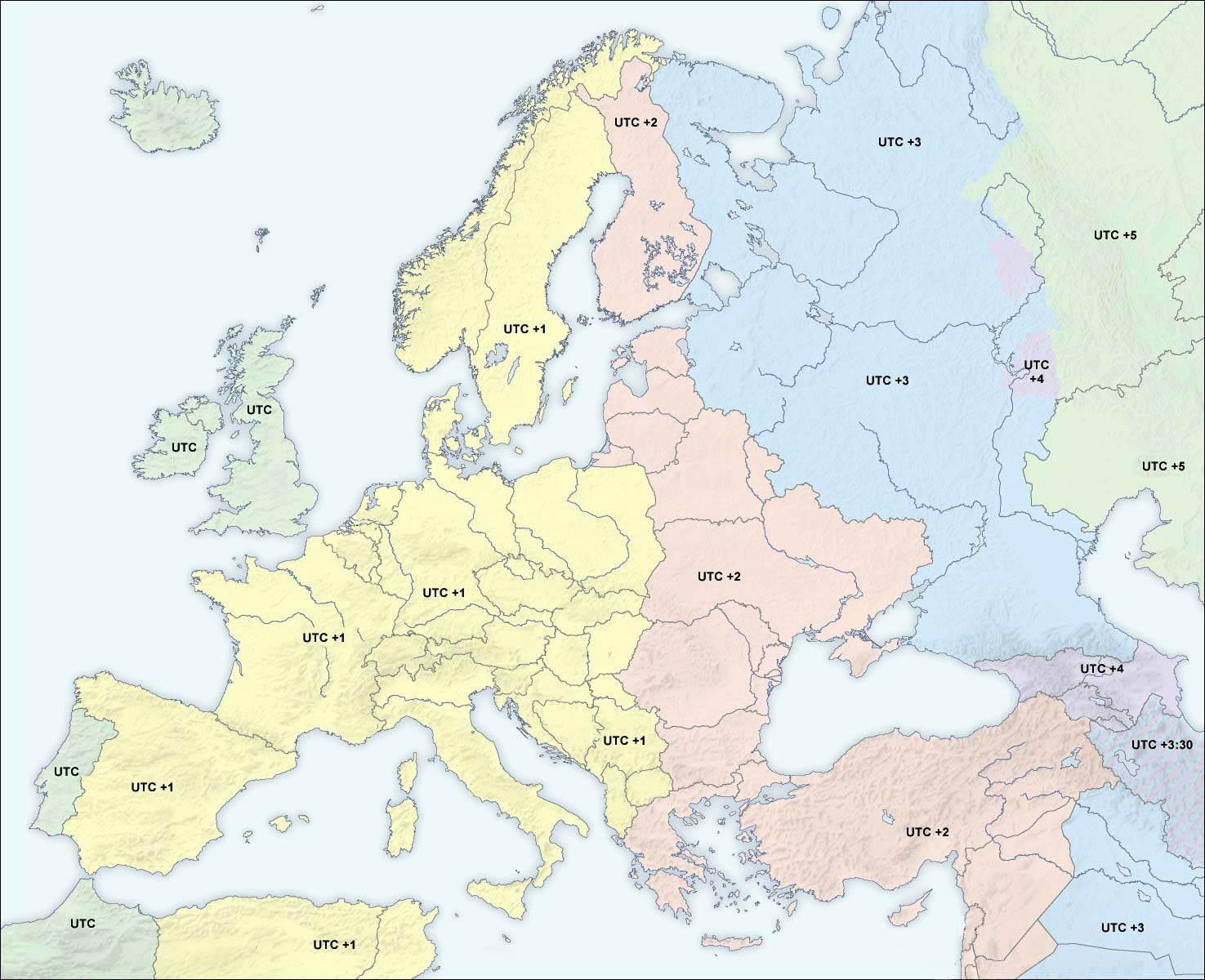 Europe time zones 2004