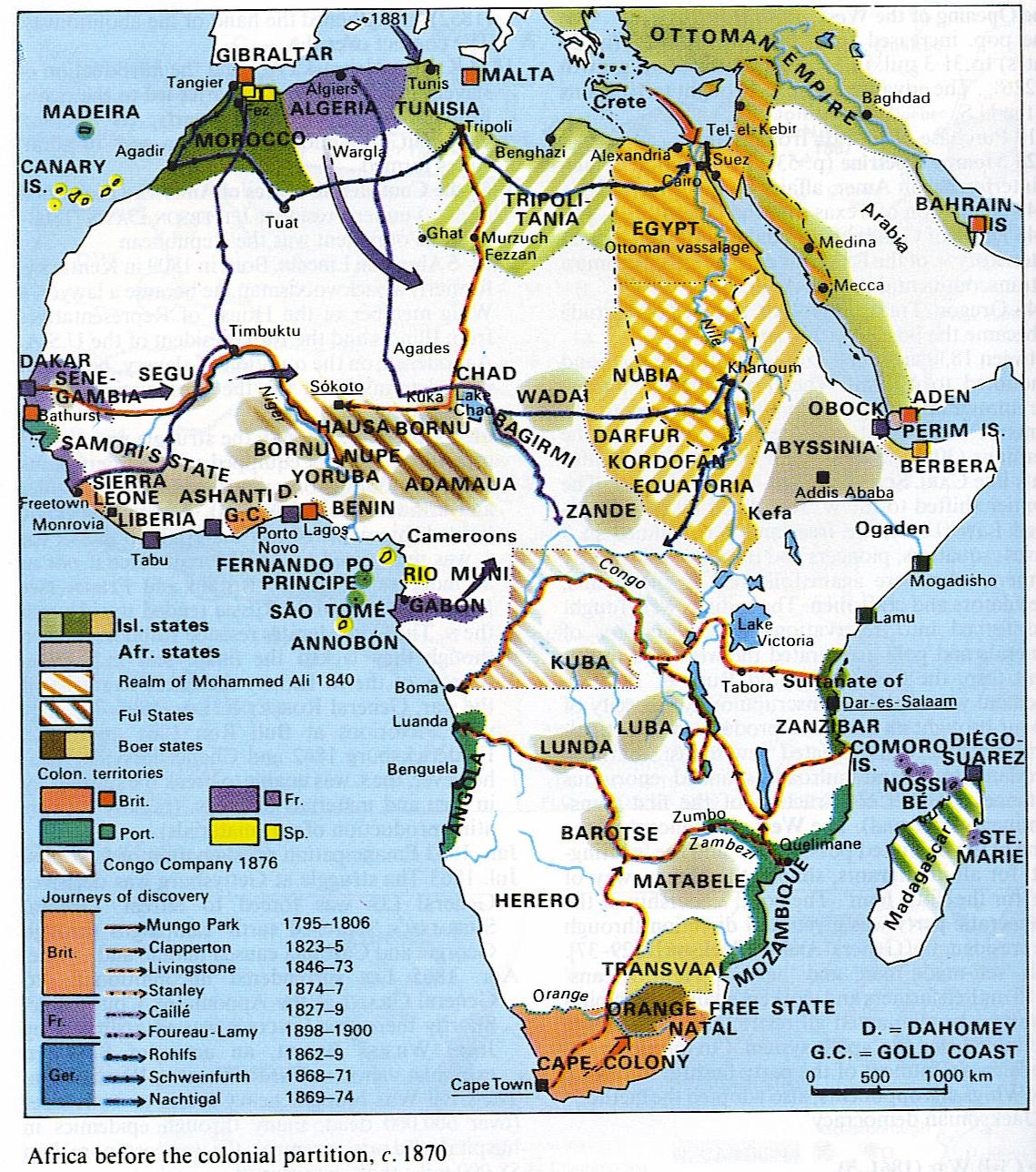 África antes de la partición colonial c. 1870